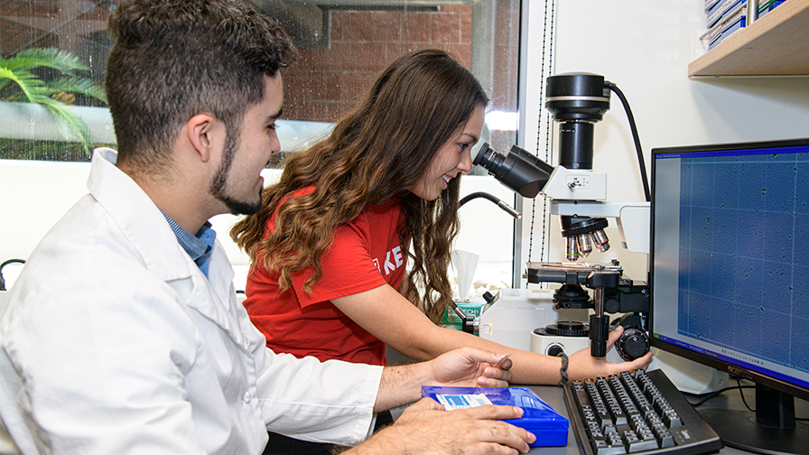 A student using a microscope with her lab mentor