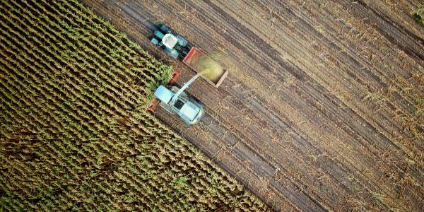 Two tractors farming a plot of land